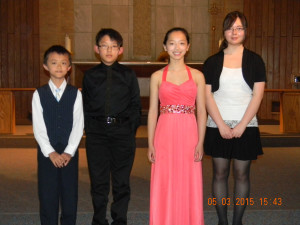 Buckeye Winners Pictured Left to Right: Jason Xiao, Piano, Elementary Alternate, Alex Pan, Piano, Elementary Winner; Taylor Wang, Piano, Junior Winner; Rebbeca Cail, Flute, Senior Winner.  Not pictured:  George Chen, Piano, Elementary, Honorable Mention.